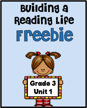Lucy Calkins Reading Workshop Unit 1 Lesson 1 FREEBIE Grade 3