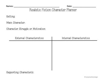 Lucy Calkins Realistic Fiction Character Traits and Story Arc Planners