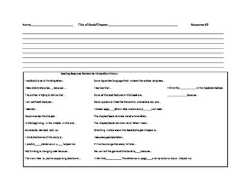 Reading Response Form for Reader's Workshop