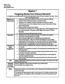 Writing Summary Grade 4 Unit 1 Writing Realistic Fiction,