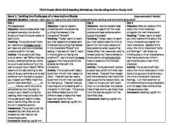 Lucy Calkins Teachers College Eve Bunting Author Study Unit Plan CCSS