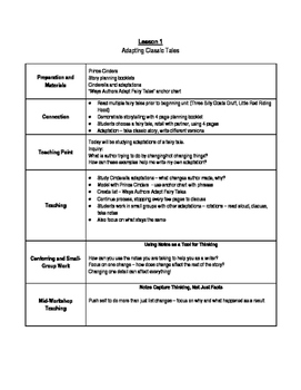 Lucy Calkins Third Grade Unit 4 Fairy Tale Writing Notes
