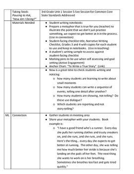 Lucy Calkins Unit 1 Session 5 - 3rd Grade