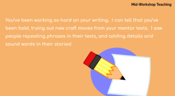 Lucy Calkins Unit 1 Writing: Lessons From the Masters, 2nd Grade Bend 3 Slides