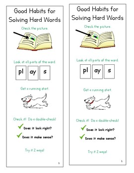 Lucy Calkins Units of Study Reading 1st Grade - Good Habits Hard Words