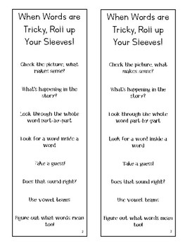 Lucy Calkins Units of Study Reading 2nd Grade - Tricky Words Bookmark
