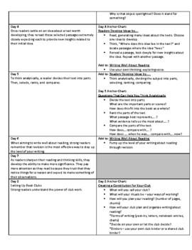 Lucy Calkins Units of Study: Reading Grade 5 Unit 1; Interpretation Book Clubs