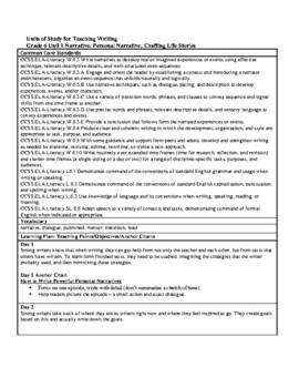 Lucy Calkins Units of Study: Writing Grade 6; Unit 1: Narrative