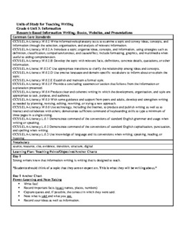 Lucy Calkins Units of Study: Writing Grade 6; Unit 3 Information