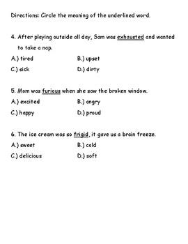 Lucy Calkins Units of Study comprehension quiz (Unit3-bend2)