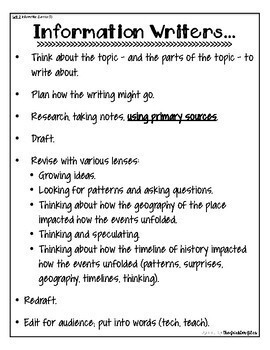 Informational Writing Anchor Chart First Grade