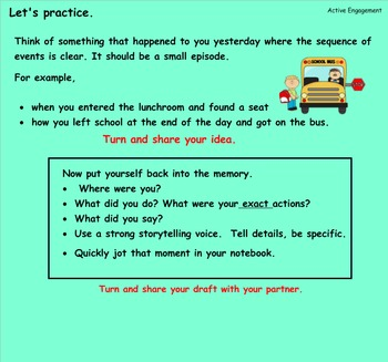 Writing Unit 1: Crafting True Stories Grade 3 Lessons 7-19 SMART