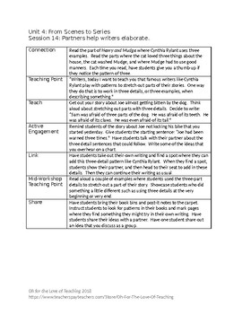 Lucy Calkins Writing First Grade Unit 4 Outlines – editable