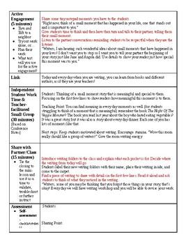 Lucy Calkins Writing Grade 2 Unit 1 (Narrative) Lesson Plans