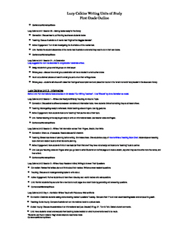 Lucy Calkins Writing Units of Study First Grade Outline - Editable