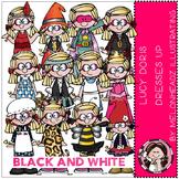 Lucy Doris clip art - Dresses up - BLACK AND WHITE- by Melonheadz