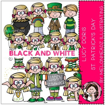Lucy Doris St Patrick's Day clip art - BLACK AND WHITE- by Melonheadz