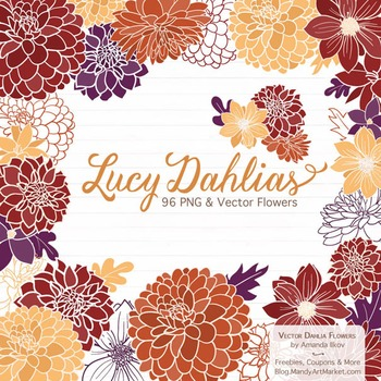 Lucy Floral Dahlias Clipart in Autumn