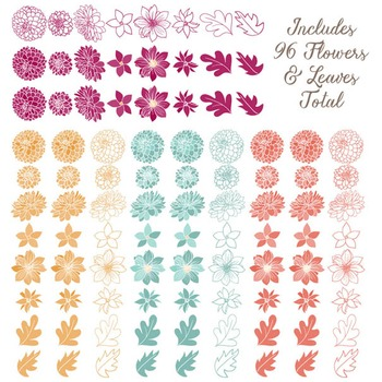 Lucy Floral Dahlias Clipart in Bohemian