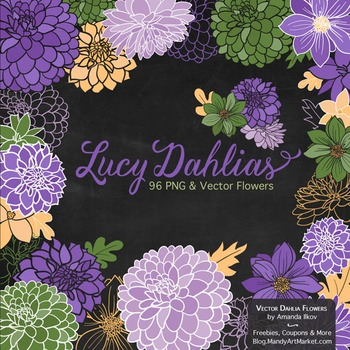 Lucy Floral Dahlias Clipart in Crocus