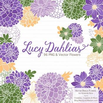 Lucy Floral Dahlias Clipart in Crocus