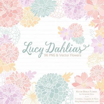 Lucy Floral Dahlias Clipart in Grandmas Garden