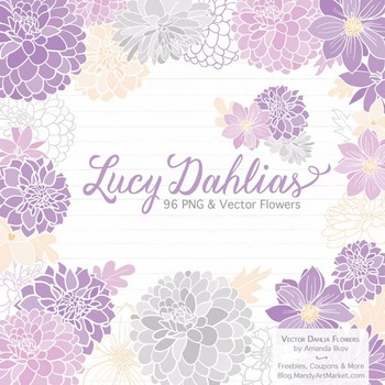 Lucy Floral Dahlias Clipart in Lavender