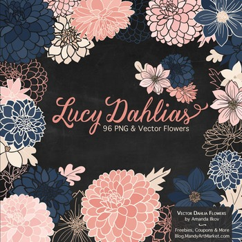 Lucy Floral Dahlias Clipart in Navy & Blush