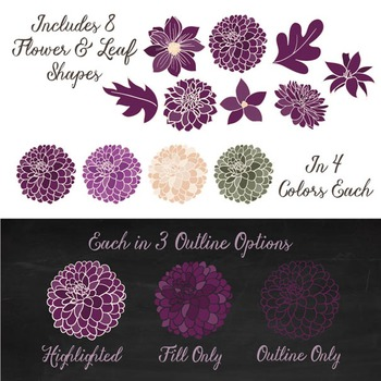 Lucy Floral Dahlias Clipart in Plum