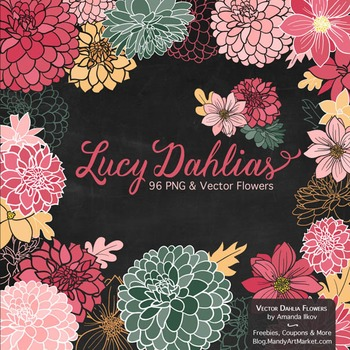 Lucy Floral Dahlias Clipart in Rose Garden