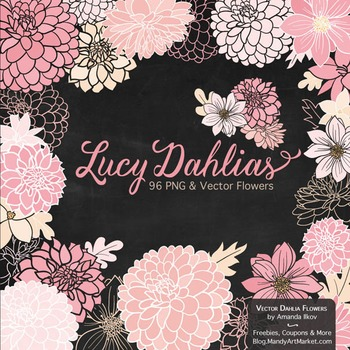 Lucy Floral Dahlias Clipart in Soft Pink