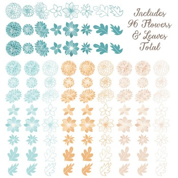 Lucy Floral Dahlias Clipart in Vintage Blue