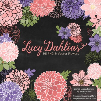 Lucy Floral Dahlias Clipart in Wildflowers