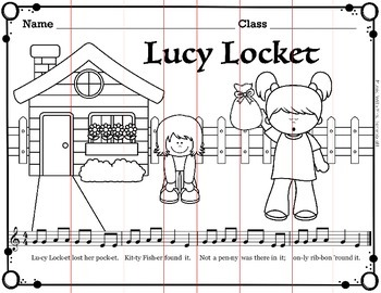 Lucy Locket Folk Song Coloring and Puzzle Activity
