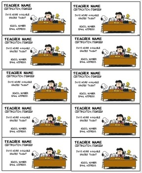 Lucy Peanuts Gang Teacher business cards Editable