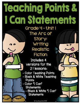 Lucy Writing Workshop 4th Grade Unit 1 Teaching Points & I Can Statements