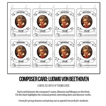 Ludwig Von Beethoven Composer Trading Card