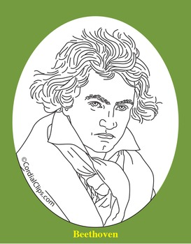Ludwig van Beethoven Clip Art, Coloring Page, or Mini-Poster