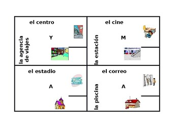 Lugares (Places in Spanish) 4 by 4