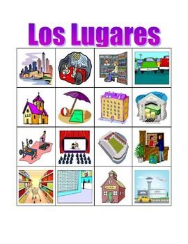 Lugares (Places in Spanish) Bingo game