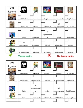 Lugares (Places in Spanish) Grid vocabulary activity