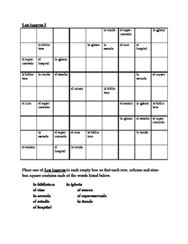 Lugares (Places in Spanish) Sudoku