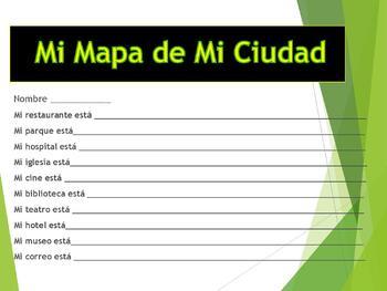Lugares de la Ciudad- Places in Spanish-Powerpoint Map Directions & Prepositions