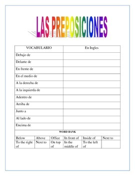 Spanish Places in the School - Lugares de la Escuela/Directions & Prepositions