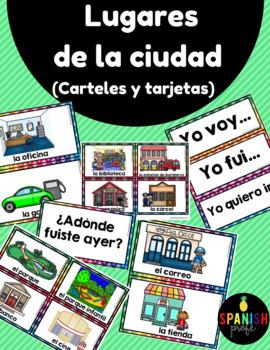 Lugares de la ciudad- Carteles y tarjetas (Places in the City Spanish)