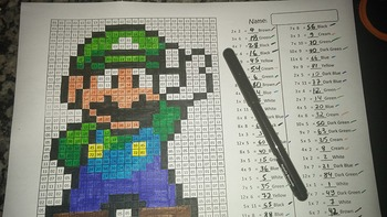 Luigi - Mystery Picture - 4 operations - Four level difficulty
