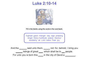 Luke 2:10-14 Christmas KJV Verses for Memorization
