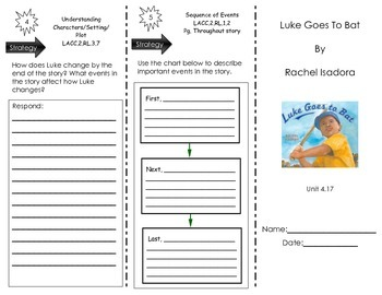Luke Goes To Bat by Rachel Isadora- Journeys Common Core - Houghton Mifflin
