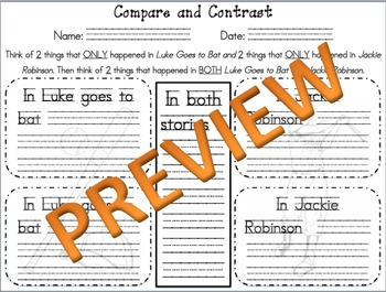Luke Goes to Bat Compare and Contrast Activity with SENTENCE STARTERS