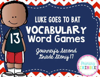 Luke Goes to Bat Vocabulary Word Games {Goes with Journey's Second Grade}